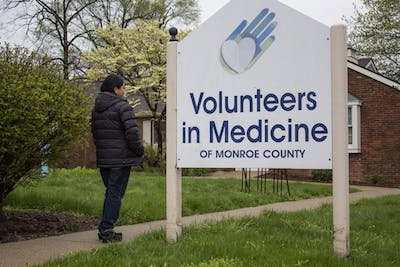 Maria López walks into the Volunteers in Medicine of Monroe County Clinic on April 19. López took her son to the clinic about two years after moving to Bloomington from Mexico City, and the clinic referred him to Riley Hospital for Children at IU Health in Indianapolis where he was diagnosed with Rocky Mountain Spotted Fever.