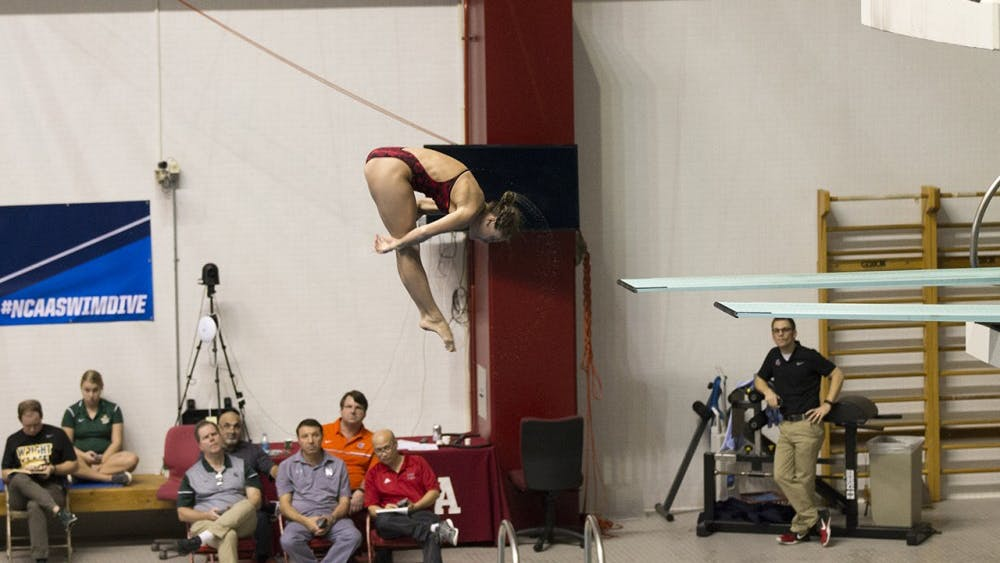 IU senior Michal Bower completes her round three dive at the NCAA Diving Zone C Championships. She qualified for the NCAA Championships to be held in Indianapolis later this week.