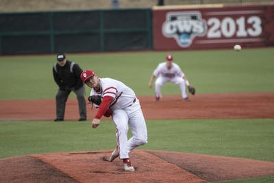 Junior left-hand specialist Andrew Saalfrank pitches the ball Feb. 27 at Bart Kaufman Field. IU will face Indiana State University on March 19.