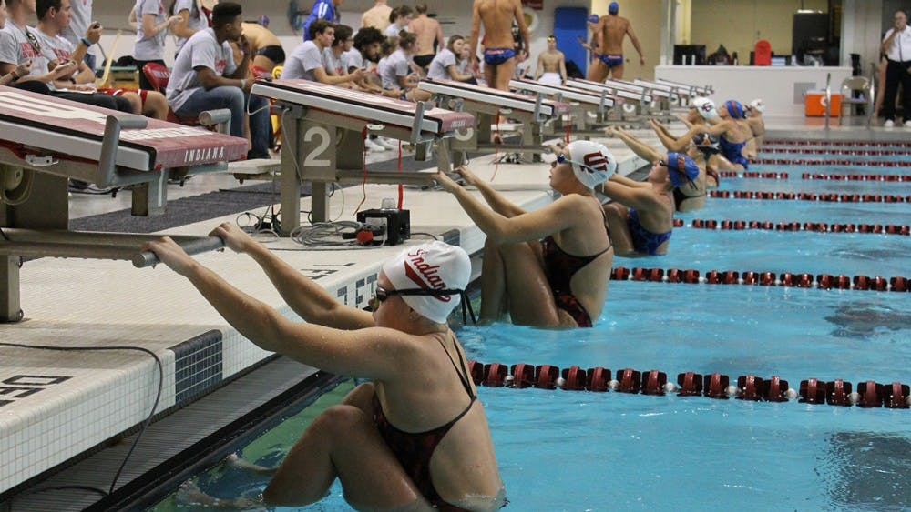 Indiana, Texas and Florida swimmers prepare to race. IU hosted the Florida Gators and Texas Longhorns for a swimming and diving meet on Friday and Saturday.