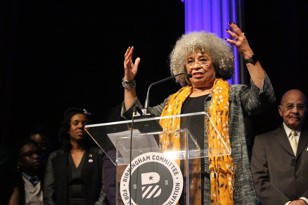 <p>Dr. Angela Davis speaks to a crowd on Feb. 16, 2019, at an event organized by the Birmingham Committee for Truth and Reconciliation. Davis will be speaking at the IU Social Justice Conference, along with Angela Rye and Alicia Garza. </p>