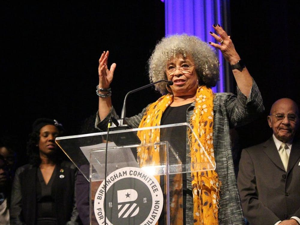 Dr. Angela Davis speaks to a crowd on Feb. 16, 2019, at an event organized by the Birmingham Committee for Truth and Reconciliation. Davis will be speaking at the IU Social Justice Conference, along with Angela Rye and Alicia Garza.