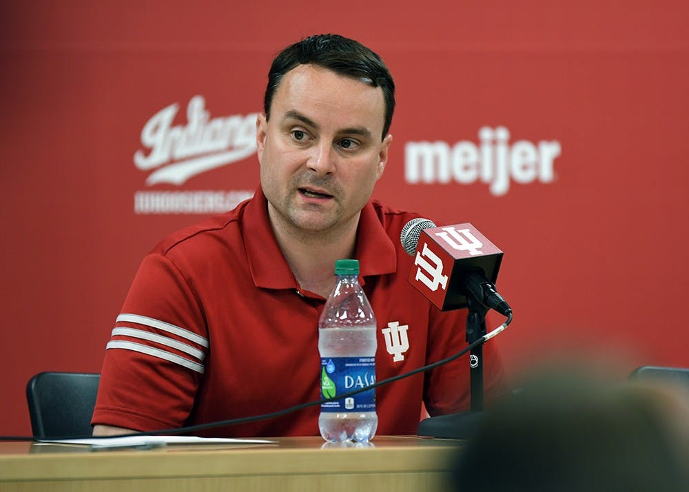 <p>Head Coach Archie Miller talks during media availability Thursday afternoon at Simon Skjodt Assembly Hall. Miller answered questions about the upcoming season as well as the recent FBI investigation into college basketball.</p>