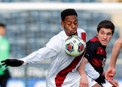 Then-freshman forward Mason Toye rushes toward the ball during the first half of play at the NCAA Men's Soccer Tournament Championship game against Stanford on Dec. 10, 2017, in Chester, Pennsylvania. Toye was selected as the No. 7 pick in the 2018 draft by Minnesota United FC.