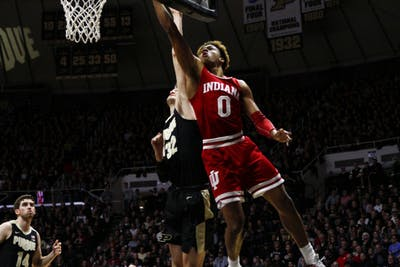 Freshman guard Romeo Langford reaches for the layup against Purdue on Jan. 19 at Mackey Stadium. Langford scored four out of the 55 points by IU.