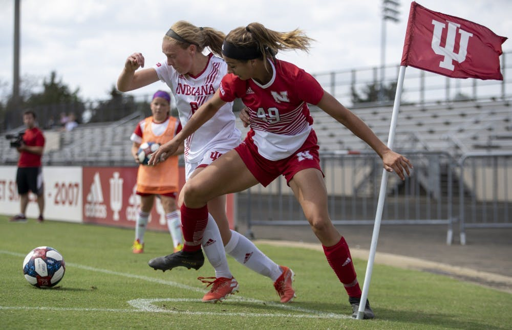 <p>Freshman Avery Lockwood and freshman Mila Gretzky fight for the ball against Nebraska on Sept. 22 at Bill Armstrong Stadium. Lockwood had four attempts on goal during the match. </p>