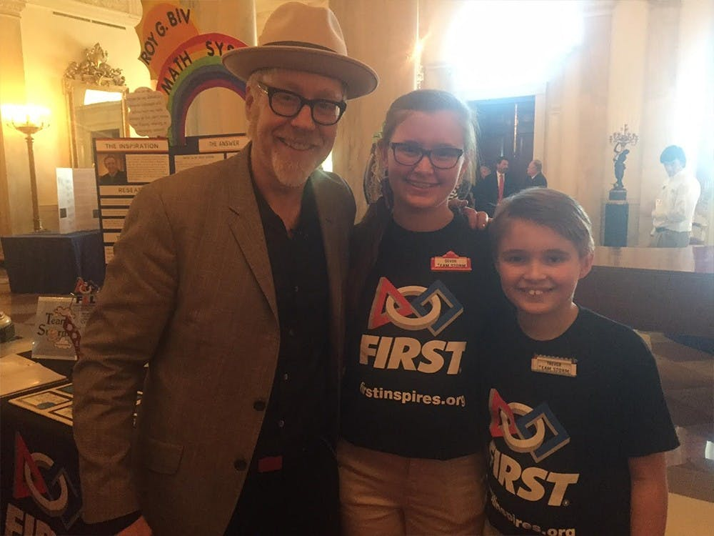 Terre Haute residents Devon, 14, and Trevor, 11, Langley represented their team Storm at the White House's sixth annual science fair, where they met Myth Buster host Adam Savage.