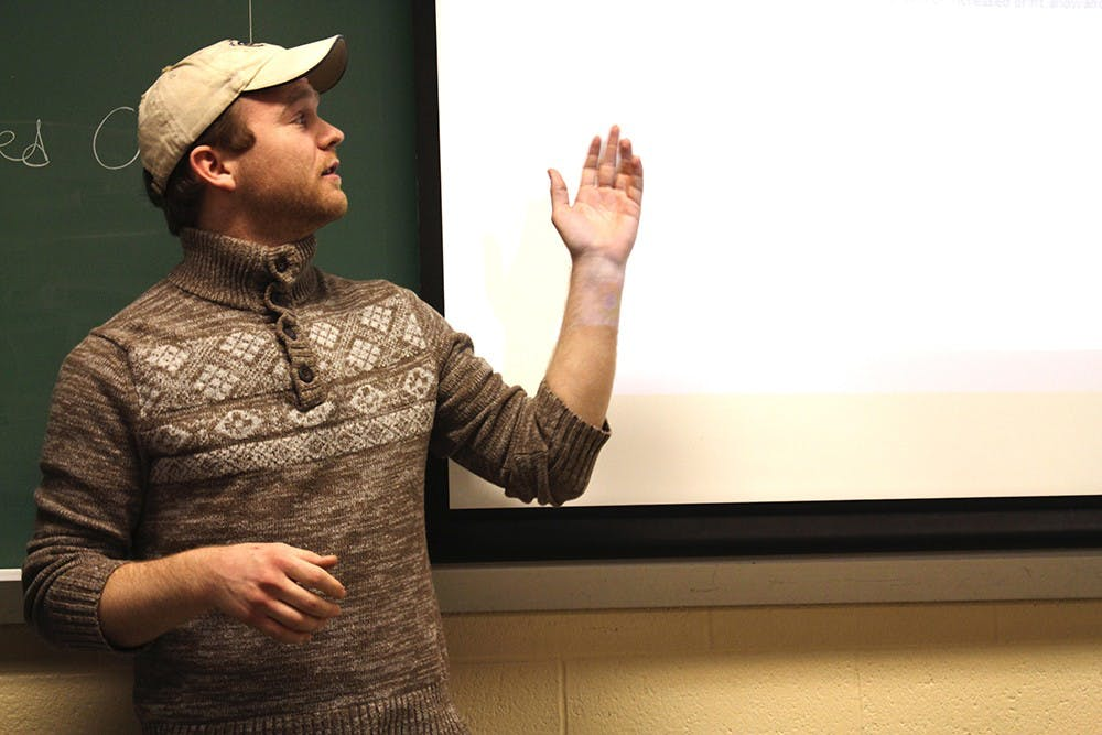 Michael French addresses issues on recycling and printing paper during an IUSA council meeting on Tuesday at Hodge Hall.