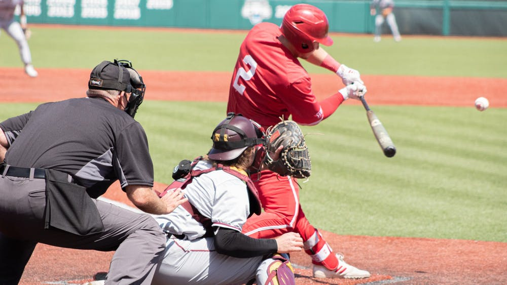 Junior infielder Cole Barr bats Sunday at Bart Kaufman Field. The IU baseball team went 3-0 this weekend against Minnesota.