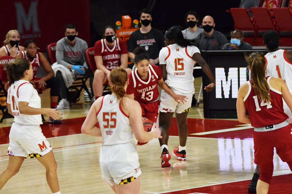 <p>Senior guard Jaelynn Penn moves toward the paint Jan. 4 at Xfinity Center in College Park, Maryland. Penn scored 10 points against  Maryland. </p>