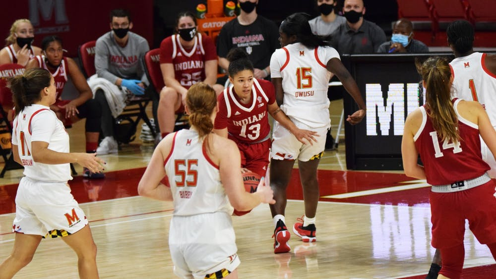 Senior guard Jaelynn Penn moves toward the paint Jan. 4 at Xfinity Center in College Park, Maryland. Penn scored 10 points against  Maryland.