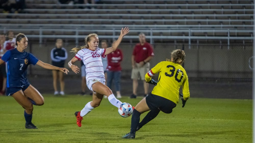Junior midfielder Paige Webber scores the third goal of the game Sept. 9, 2021, at Bill Armstrong Stadium. Indiana beat Murray State University 4-0.