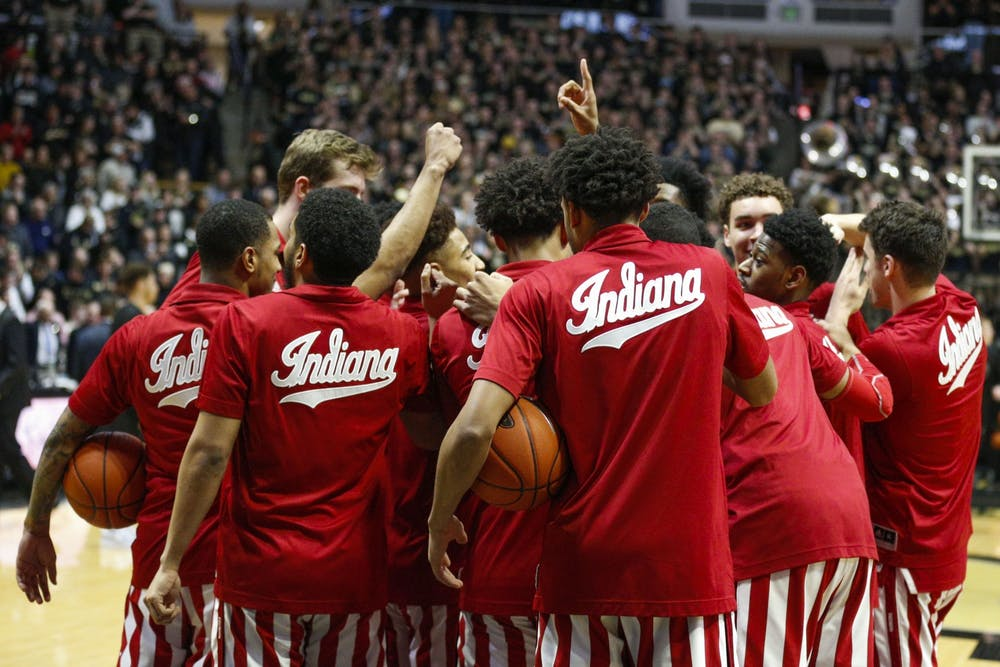 <p>The IU men&#x27;s basketball team gathers together for a pep talk before playing the Purdue on Feb. 27 at Mackey Arena in West Lafayette, Indiana.</p>