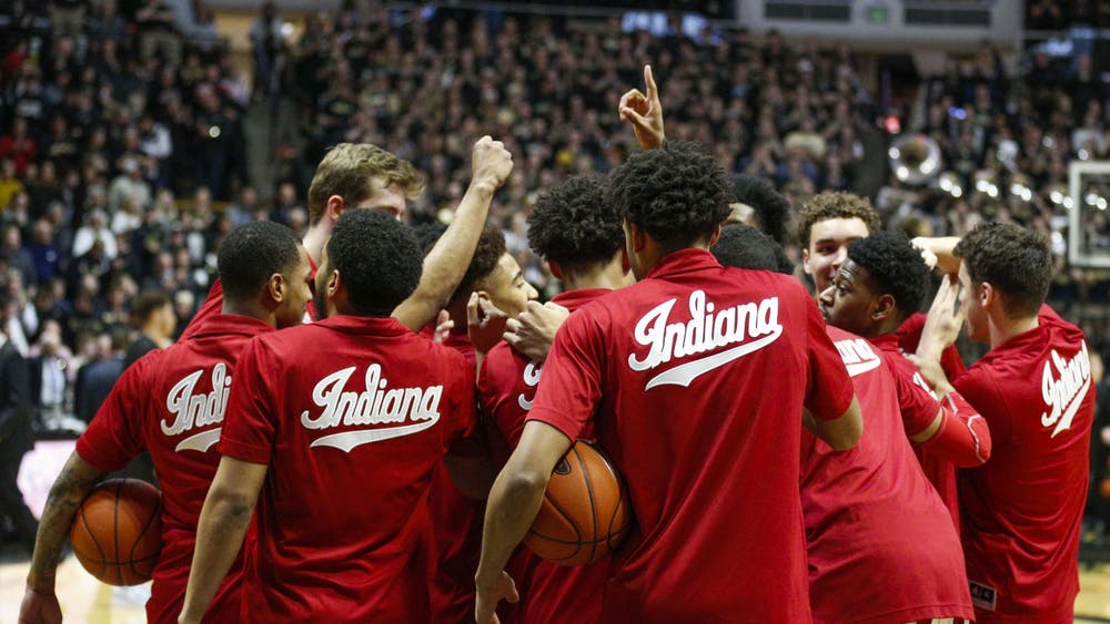 The IU men's basketball team gathers together for a pep talk before playing the Purdue on Feb. 27 at Mackey Arena in West Lafayette, Indiana.
