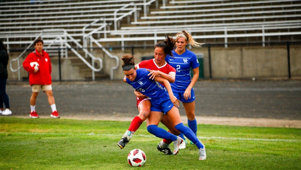 Junior Allison Jorden attempts to tackle her opponent on Sept. 7 during the IU women's soccer game against Kentucky at Bill Armstrong Stadium. Jorden scored the only IU goal against No. 25 Northwestern on Thursday night.