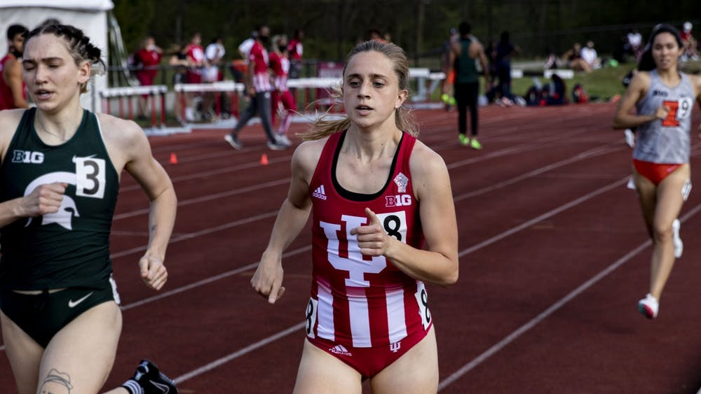 Senior Joely Pinkston runs in the women's 800-meter run during the Big Ten Indiana Invitational on April 9 at the Robert Haugh Track and Field Complex. Pinkston returned for another season after the abrupt end to the track and field season in 2020.