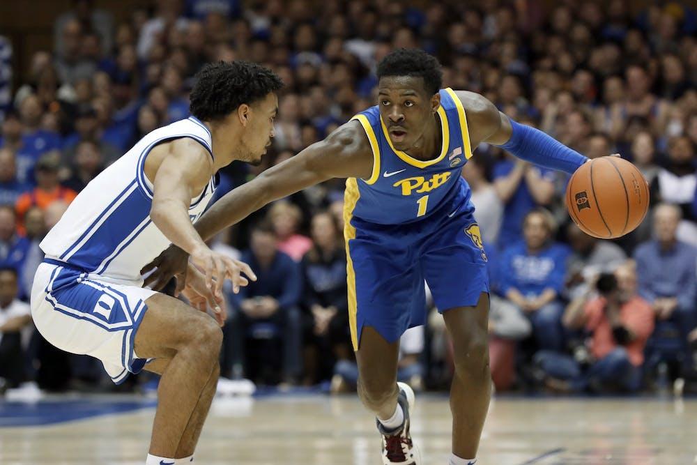 <p>Pittsburgh guard Xavier Johnson plays offense Jan. 28, 2020, in Durham, North Carolina. Johnson announced Wednesday he will be transferring to IU.</p>