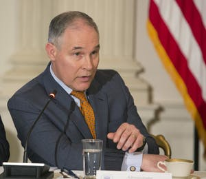 Former Environmental Protection Agency Administrator Scott Pruitt participates in a meeting with state and local officials regarding the Trump infrastructure plan on Feb. 12 at the White House in Washington, D.C.