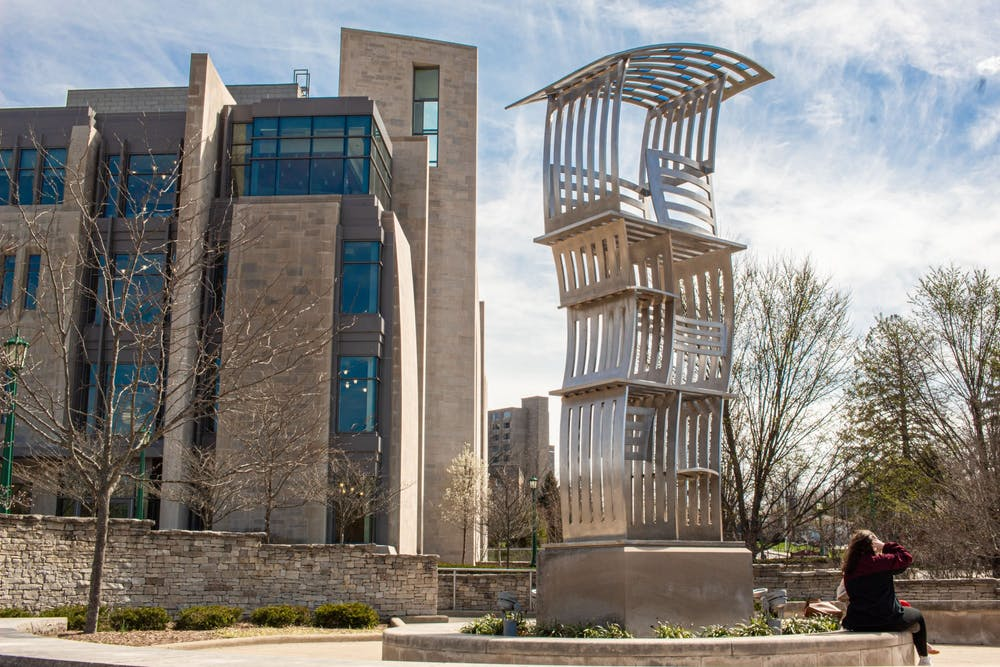 <p>Students sit outside the Jacobs East Studio Building on March 30. The Jacobs School of Music hosts an e-concert series focused on spotlighting music of the African diaspora in the field of classical music with different guests every Wednesday.</p>