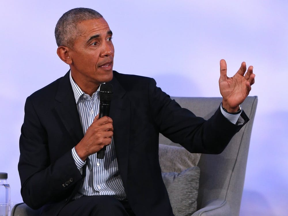 Former President Barack Obama speaks Oct. 29 during the closing session of the 2019 Obama Foundation Summit meeting at the Kaplan Institute at the Illinois Institute of Technology in Chicago.