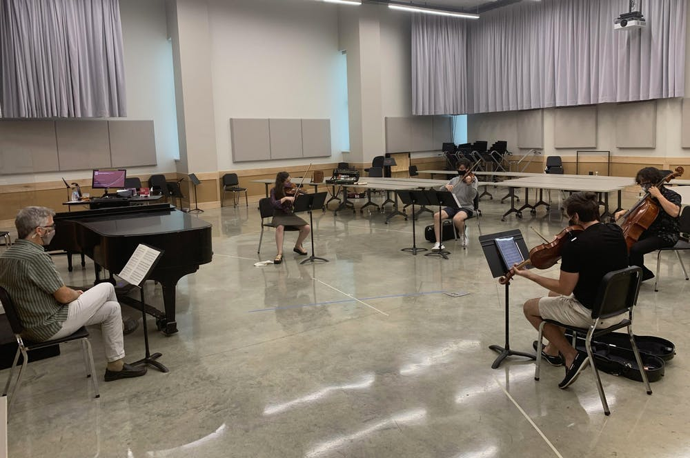 <p>David Dzubay directs the IU New Music Ensemble. The IU New Music Ensemble will livestream their final performance at 8 p.m. May 6 via IUMusicLive!.</p>