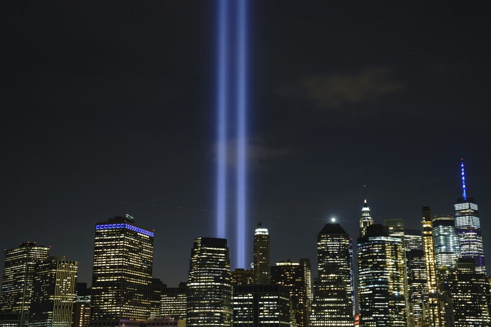 <p>The &quot;Tribute in Light&quot; rises skyward on the 18th anniversary of the 9/11 terrorist attacks on Sept. 11, 2019, in New York City. During an event open to the public, seven surviving members of the 9/11 Commission will meet on Oct. 12 at the IU Auditorium to discuss their work, recommendations and effect on the status of U.S. National Security. </p>