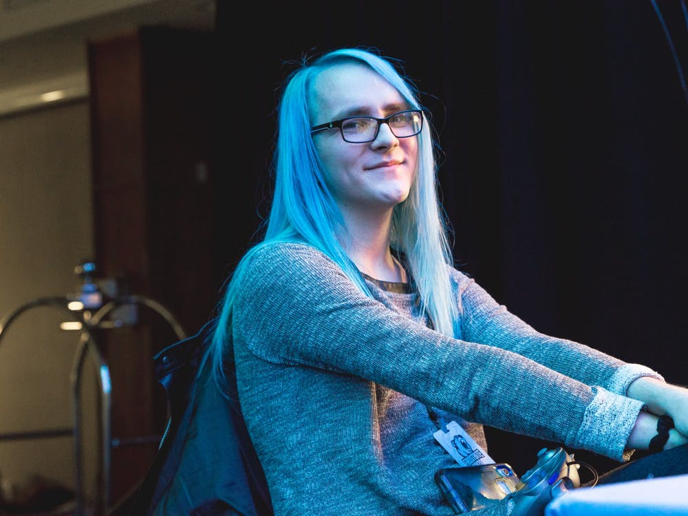 """May """"Mystearica"""" sits Feb. 23 at Frostbite, a Super Smash Bros. Ultimate tournament, in Detroit. May is the No. 1 ranked Super Smash Bros. Ultimate player in Indiana."""