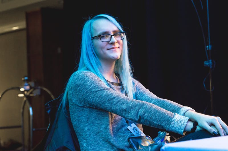 "May ""Mystearica"" sits Feb. 23 at Frostbite, a Super Smash Bros. Ultimate tournament, in Detroit. May is the No. 1 ranked Super Smash Bros. Ultimate player in Indiana."