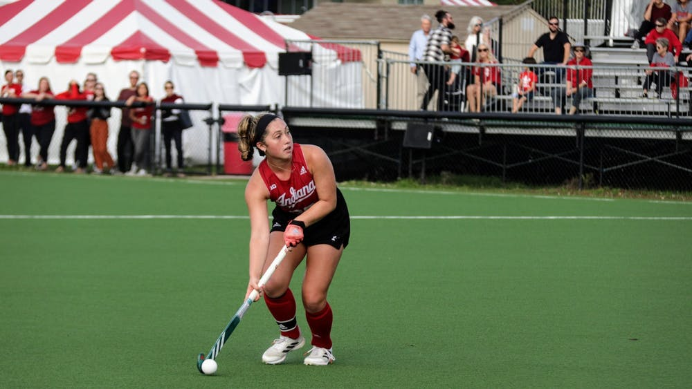 Senior midfielder Jes McGivern looks down the field during a match against Michigan State University on Oct. 15, 2021, at the IU Field Hockey Complex. Indiana fell to No. 2 University of Michigan 5-3 Sunday.