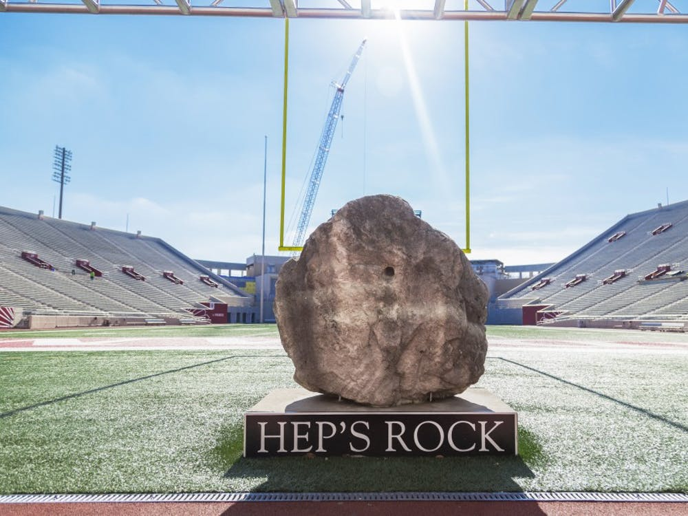 """""""Hep's Rock"""" is located in the North End Zone of Memorial Stadium. The IU football team landed a defensive lineman Kayton Samuels, as a graduate transfer from Syracuse on Sunday."""