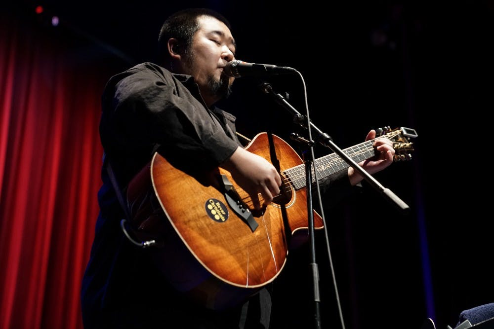 <p>Song Dongye, a Chinese singer and songwriter, performs his repertoire of songs Tuesday in the Buskirk-Chumley Theater. Dongye is an up-and-coming artist currently touring North America and has over 55,000 monthly listeners on Spotify.&nbsp;</p>