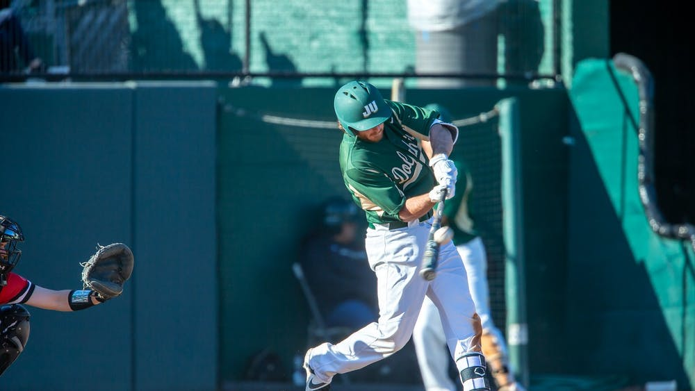 Former Jacksonville University senior Jacob Southern strikes the ball during a game. Southern will transfer to IU, using his additional year of eligibility provided by the NCAA because of the coronavirus pandemic.