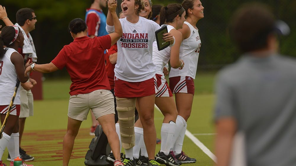 The IU Field Hockey bench celebrates after upseting the number 14th ranked Northwestern Wildcats 3-2 September 27th  at the IU Field Hockey Complex.
