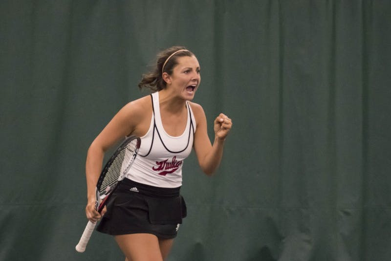 Then-freshman, now-sophomore, Michelle McKamey celebrates winning a point during a doubles match last season. IU played Michigan State on Sunday and won, 5-2.