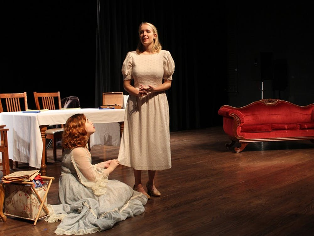 """Clare Mattsson and Adda Port rehearse for the play """"Glass Menagerie."""" The show will open this Friday and be performed throughout the weekend."""