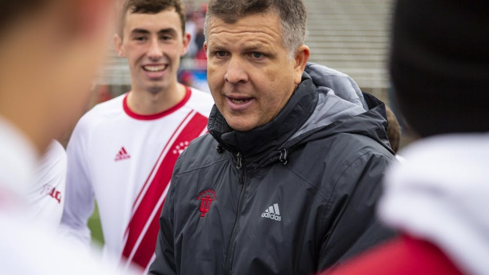 Coach Todd Yeagley talks to his team after IU defeated the University of Connecticut in the second round of the NCAA Tournament on Nov. 18 at Bill Armstrong Stadium. IU scored four goals against UCONN to advance to the round of 16.