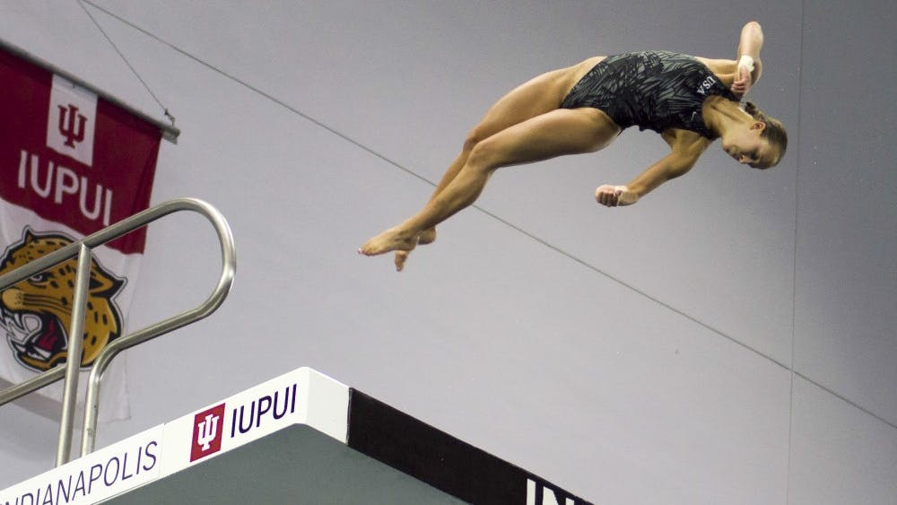Then-sophomore diver Jessica Parratto, now a senior, dives in a 2016 women's 10-meter event at the IUPUI Natatorium. Parratto is entering her senior season in 2018-19.
