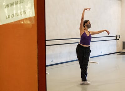 Senior Alex Jones practices Sept. 23 in the Musical Arts Center. The ballet department has adjusted to  COVID-19 guidelines by reducing studio capacity, reducing group sizes and enforcing social distancing.