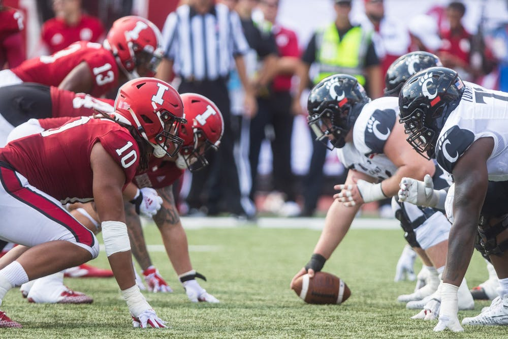 <p>Indiana&#x27;s defensive line lines up against the University of  Cincinnati&#x27;s offensive line on Sept. 18, 2021, at Memorial Stadium. Indiana has a chance to bounce back from a 38-24 loss to Cincinnati this Saturday when it heads to Bowling Green, Kentucky, to face off against Western Kentucky University.</p>