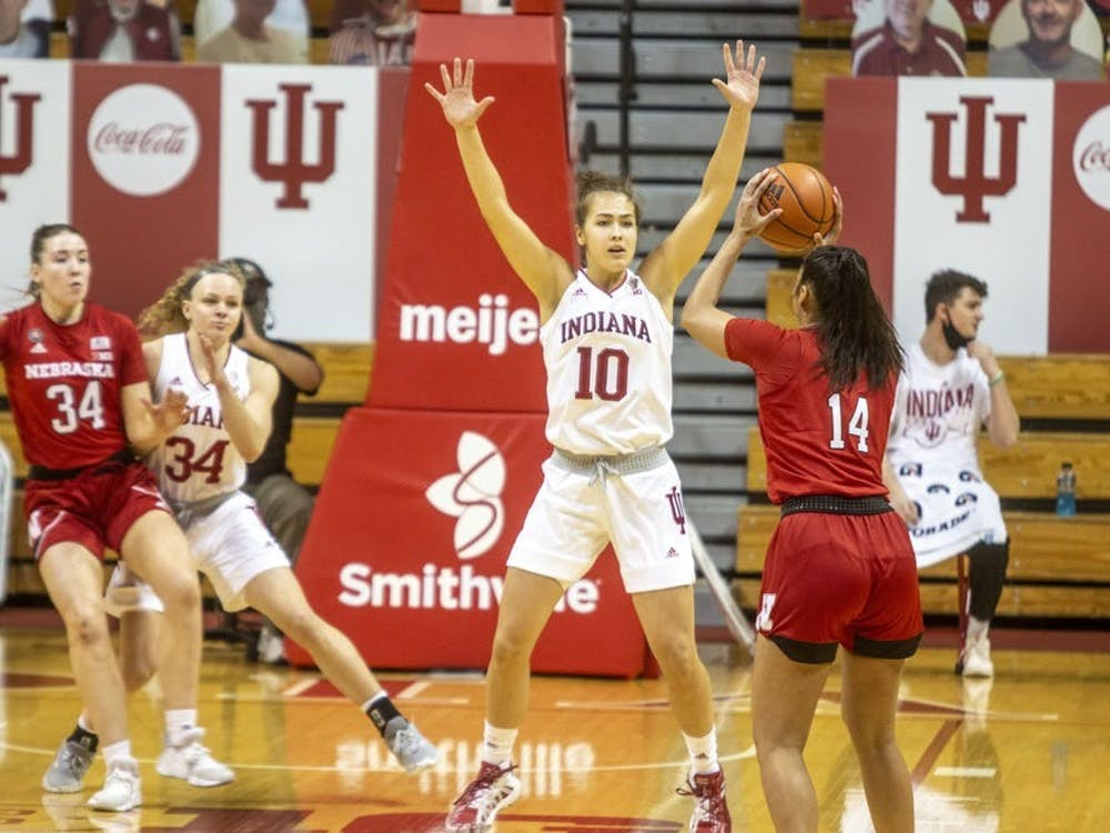 Junior forward Aleska Gulbe defends her opponent Dec. 20 at Simon Skjodt Assembly Hall during the Hoosiers' matchup against Nebraska. Gulbe had 8 points in IU's win over Illinois on Sunday.
