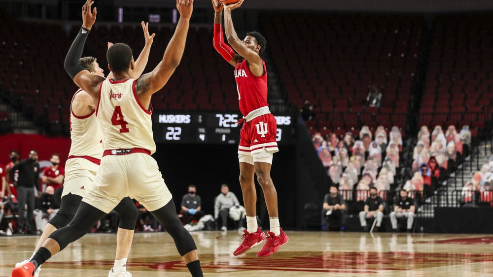 Senior guard Aljami Durham shoots during the game against the Nebraska Huskies on Sunday at Pinnacle Bank Arena in Lincoln, Nebraska. Durham finished with 17 points.