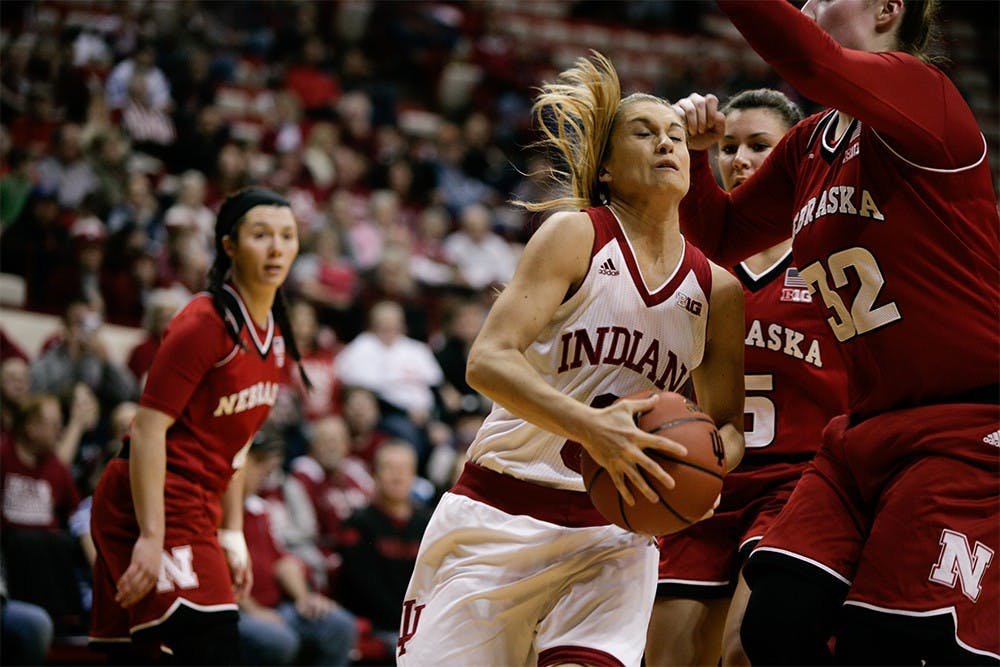 Sophomore gaurd Tyra Buss runs to the basket against Nebraska. Buss was first in scoring, putting up 17 points for the Hoosiers to win 59-47 Sunday at Assembly Hall.