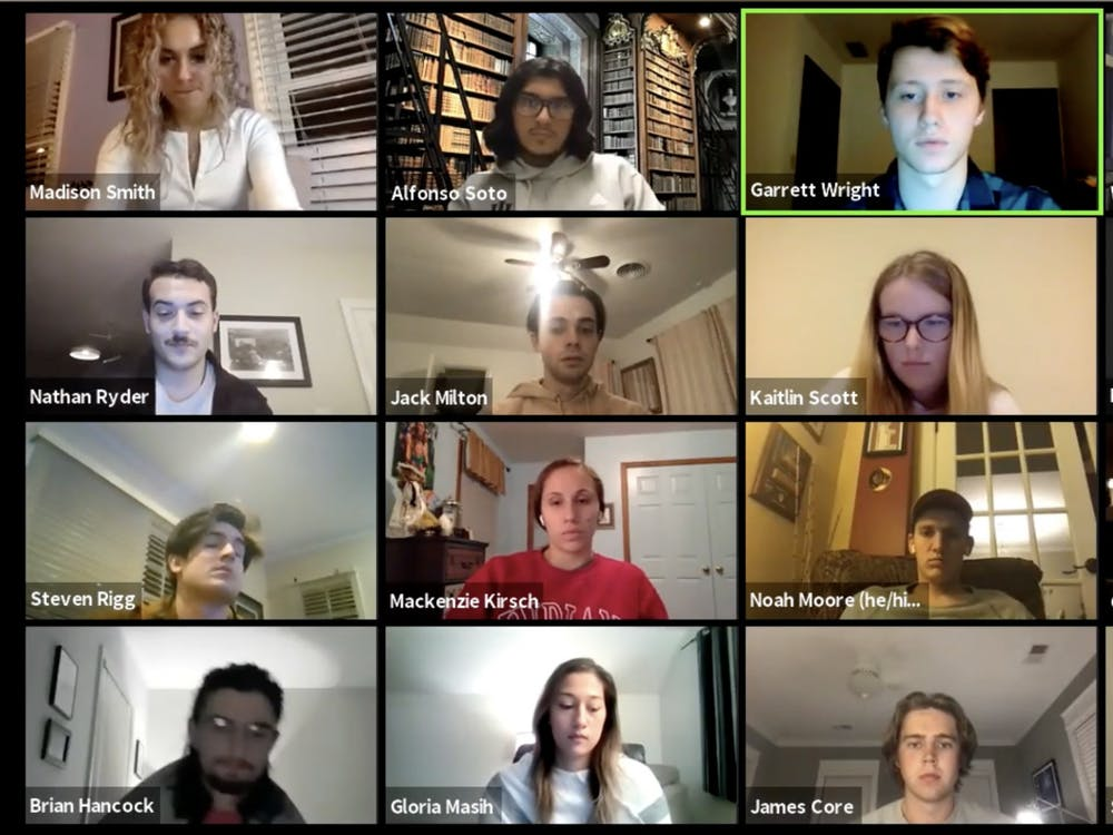 A screenshot from the IU Student Government congress meeting Dec. 6 over Zoom. The IUSG Congress has been meeting online all semester and will continue to do so for the time being.