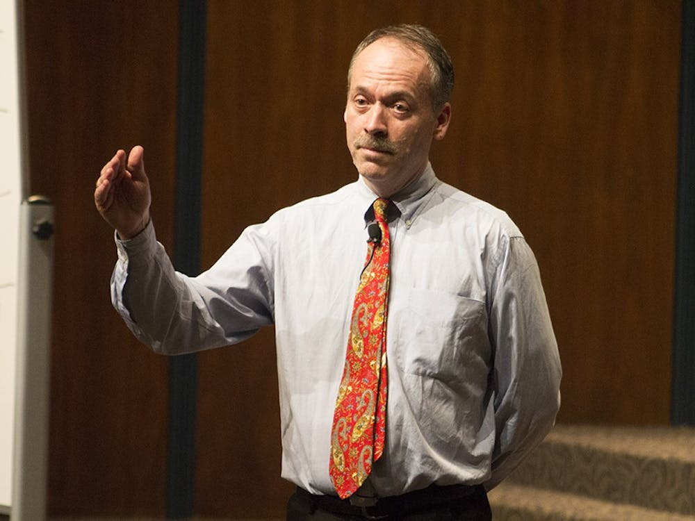 """IU Alumnus Will Shortz presents """"The Art of the Puzzle"""" and discusses his favorite puzzles, what he studied at IU, and his job at the New York Times Wednesday evening at the Whittenberger Auditorium."""