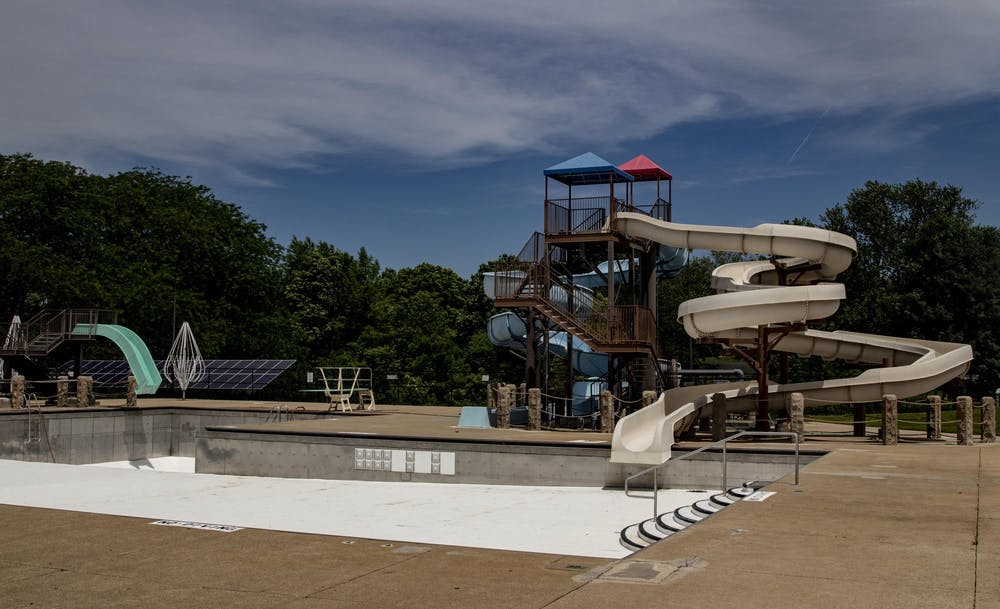 <p>Bryan Park Pool is empty June 8, 2020, in Bloomington. The City of Bloomington is advising residents to properly remove water from their swimming pools, spas and other water features as summer comes to an end, and avoid draining directly into storm drains.</p>