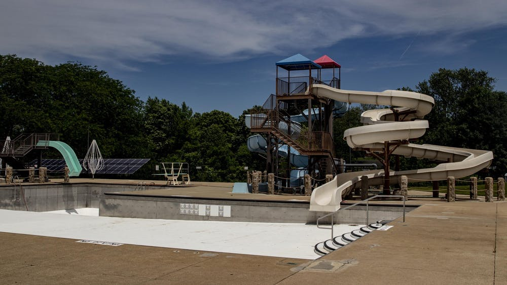 Bryan Park Pool is empty June 8, 2020, in Bloomington. The City of Bloomington is advising residents to properly remove water from their swimming pools, spas and other water features as summer comes to an end, and avoid draining directly into storm drains.