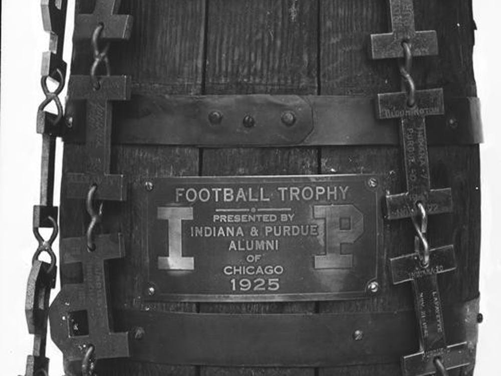 The Old Oaken Bucket is pictured in 1947. Purdue leads the all-time football series with IU 74–42–6.
