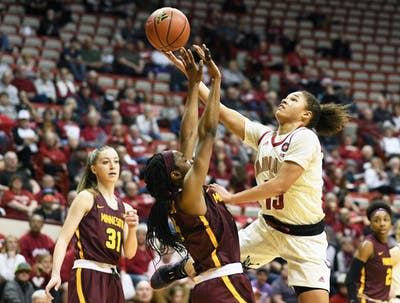 Sophomore guard Jaelynn Penn drives to the basket Feb. 6 against Minnesota in Simon Skjodt Assembly Hall. IU will face Minnesota again March 7.