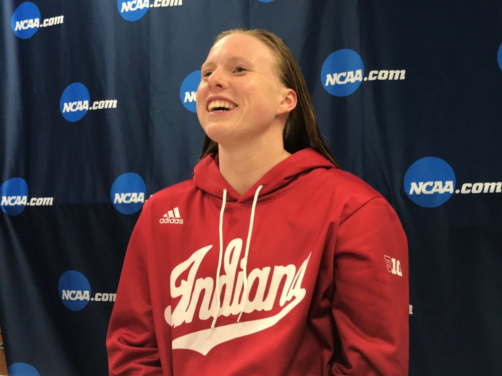 Lilly King talks to the media after winning the 200-yard breaststroke on the final night of the 2019 NCAA Tournament. King won the bronze medal in the 100-meter breaststroke in Tokyo on Monday.