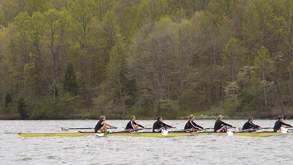 Members of the IU women's rowing compete during the Varsity 8 race during the Dale England Cup regatta on April 27, 2013, at Lake Lemon outside Bloomington. IU competed in the Big Ten Double Dual on Saturday in Iowa City, Iowa.